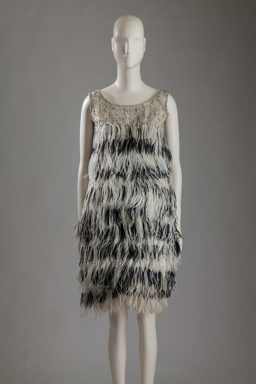 Yves Saint Laurent, ostrich feather dress worn by Margot Fonteyn, 1965. Photograph by William Palmer