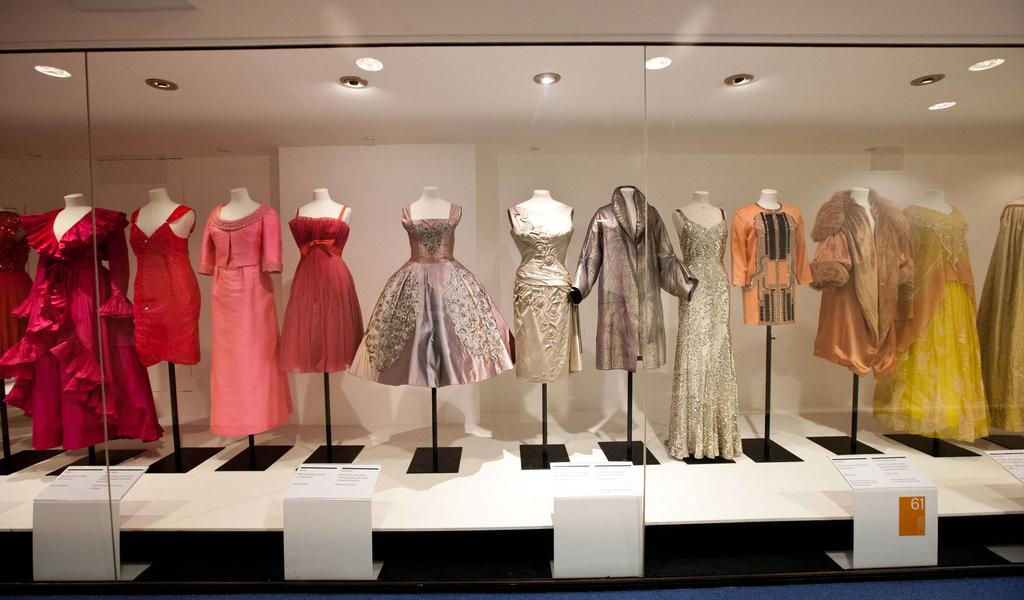 Image: Outfits on display at the Glamour exhibition