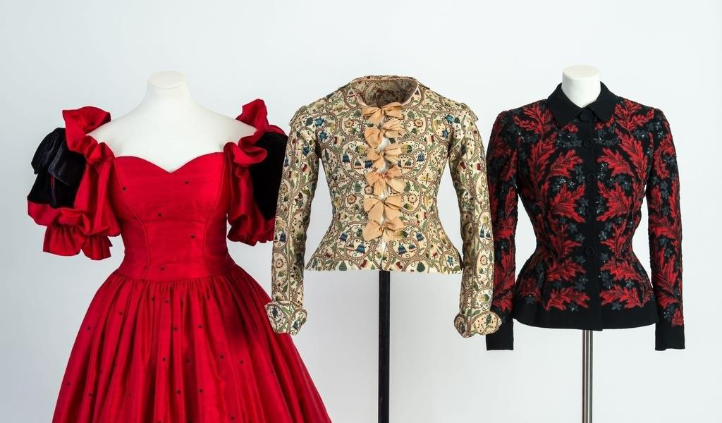Image: Garments on display from History of Fashion in 100 Objects