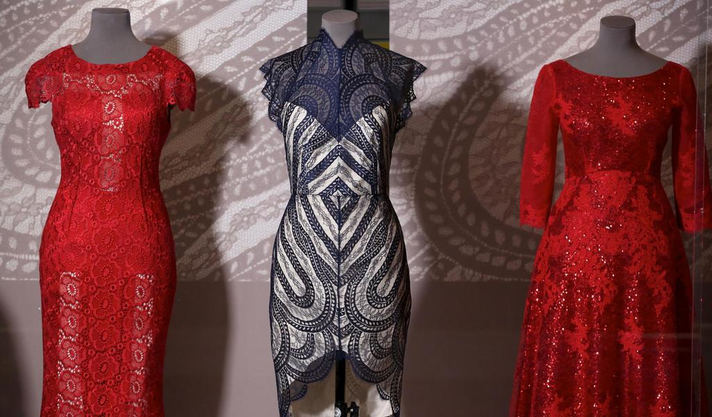 Image: Lace in Fashion display at the Fashion Museum Bath