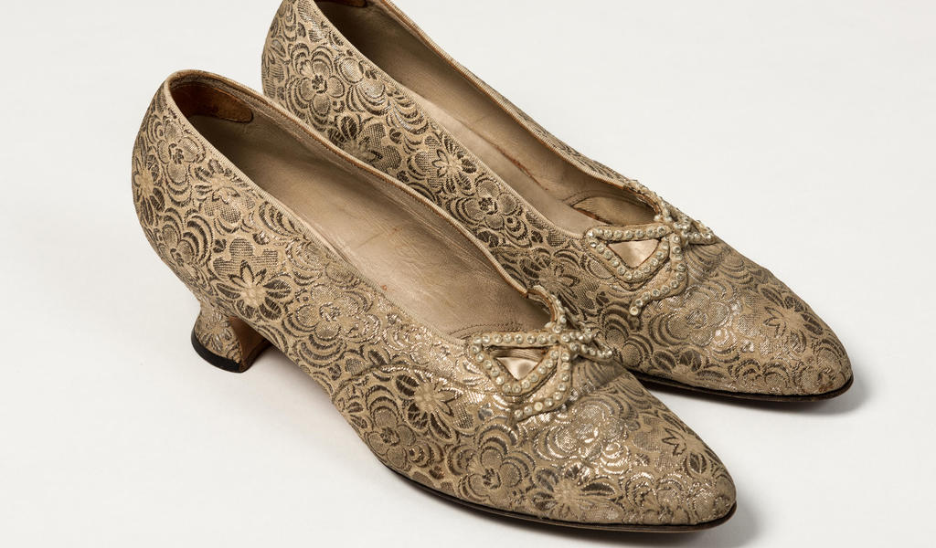 Image: Gold brocade shoes worn by Queen Mary