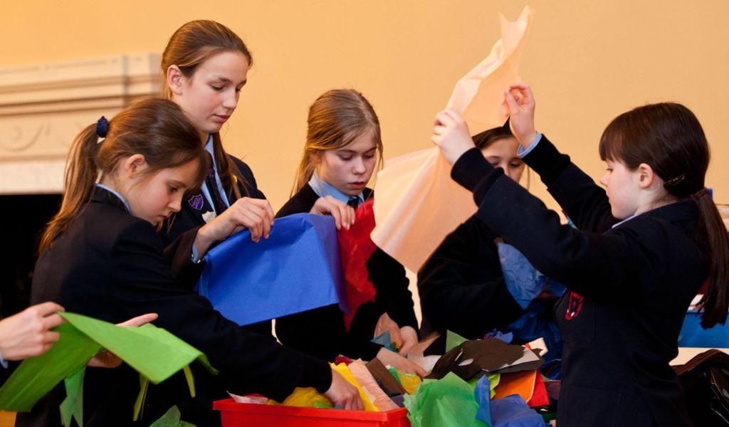 Image: Students taking part in a craft activity
