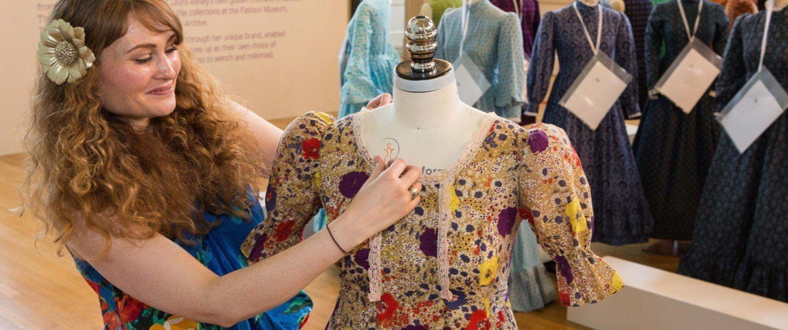 Image: Staff preparing ensembles for an exhibition