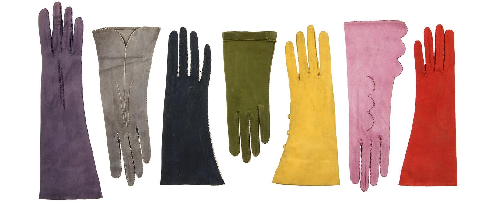 Image: Selection of brightly coloured suede leather gloves, by self-taught glove maker Mrs Anne Kershaw, 1950s