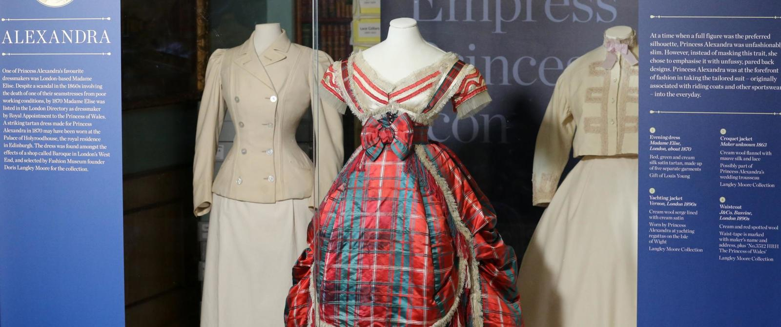 Image: Red, green and cream tartan silk satin evening dress worn by Queen Alexandra