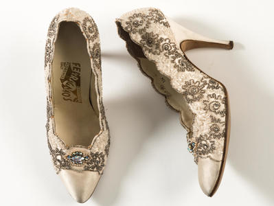 Image: Pair of cream silk satin court shoes, with diamante embroidery, Ferragamo, Florence. Worn by Alicia Markova, 1950s