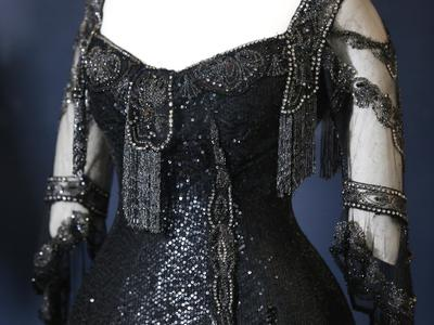 Image: Black silk and velvet embellished evening dress worn by Queen Alexandra