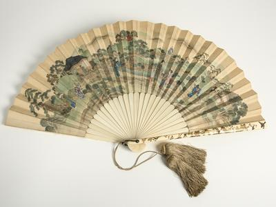 Image: Printed paper fan, with Japanese figures in a landscape, 1880s