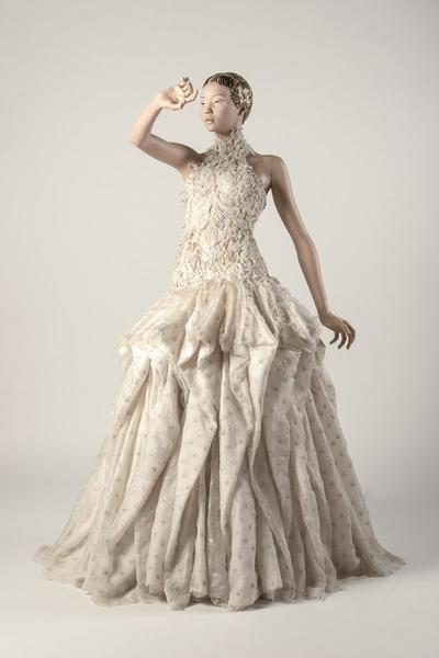 Image: Ivory silk embroidered evening dress, Sarah Burton/Alexander McQueen. Chosen as Dress of the Year 2011 by Hamish Bowles