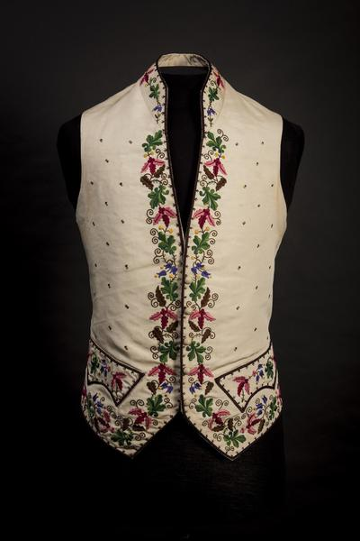 Image: Cream silk waistcoat with coloured silk embroidery, 1850s