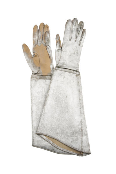Image: Silvered effect long gauntlet gloves as worn by actor Mark Hamill as Luke Skywalker in Star Wars The Empire Strikes Back (1980)