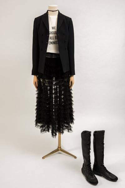 Image: 2017 Dior: White cotton 'We Should All Be Feminists' print T-shirt, worn with black wool jacket and black tulle skirt with black knitted underwear. Selector: Sarah Bailey, Red Magazine