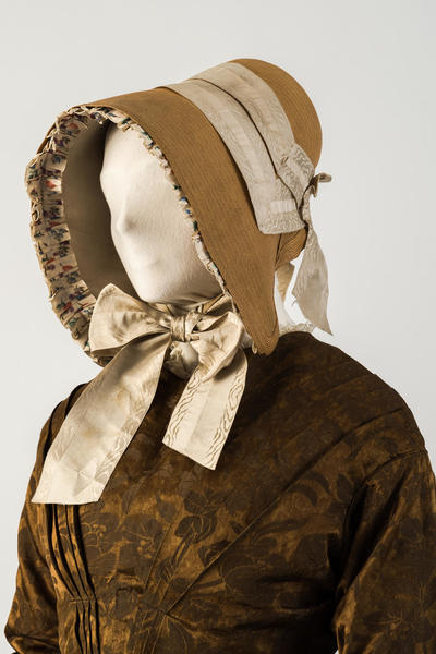 Image: Straw bonnet, with woven silk ribbons, 1840s