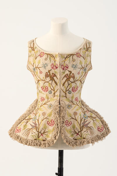Image: Embroidered woman's waistcoat, 1700s