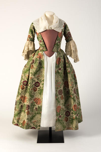 Image: Green and pinks brocade woven silk open robe, 1730s