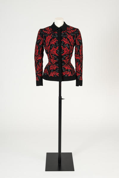 Image: Black and red wool crepe appliqué jacket, with black sequins, Lucien Lelong, c.1947