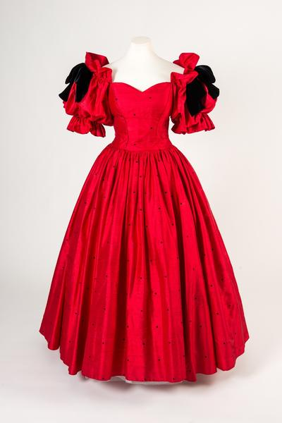 Image: Red and black spotted silk ball-gown, with bows and puffed sleeves, David and Elizabeth Emanuel, c.1982
