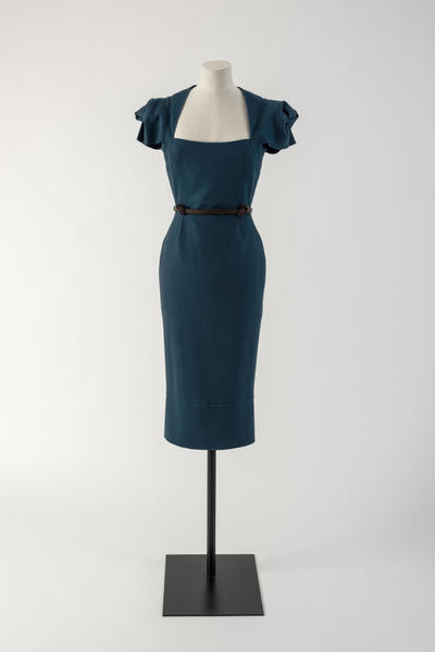 Image: Petrol blue woollen 'Galaxy' dress with knotted leather belt, Roland Mouret, 2015