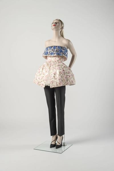 Pink and blue embroidered 'cut-off ballgown' with black trousers. Raf Simons for the House of Dior. Chosen as Dress of the Year 2012 by Vanessa Friedman
