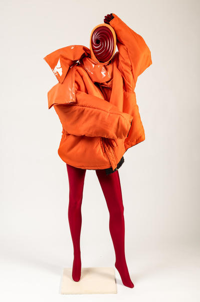 Image: Orange jacket and burgundy bodysuit ensemble, assembled by Francesco Colucci