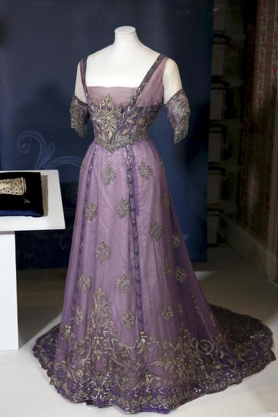 Image: Queen Alexandra's mauve silk chiffon embroidered dress