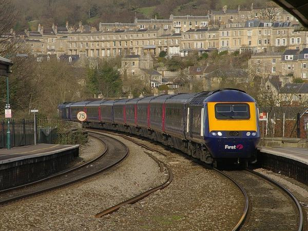 Image: Train arriving into Bath Spa station