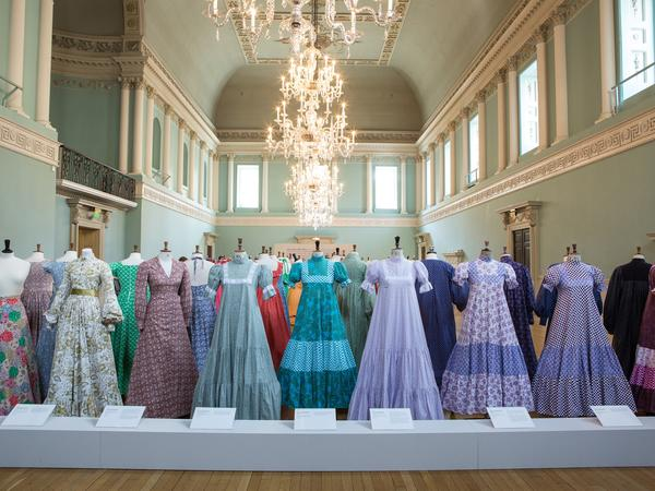 Image: Dresses displayed at the Laura Ashley exhibition