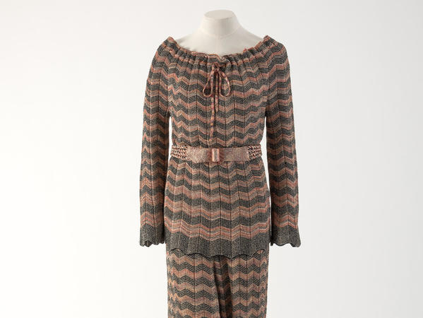 Image: Burnt umber and sienna silk and lurex trouser suit, Missoni, 1970s